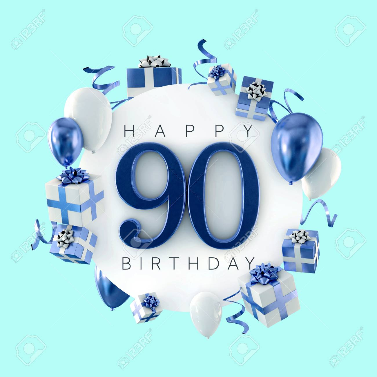 Happy 90th birthday party composition with balloons and presents. 3D Render - 119807161