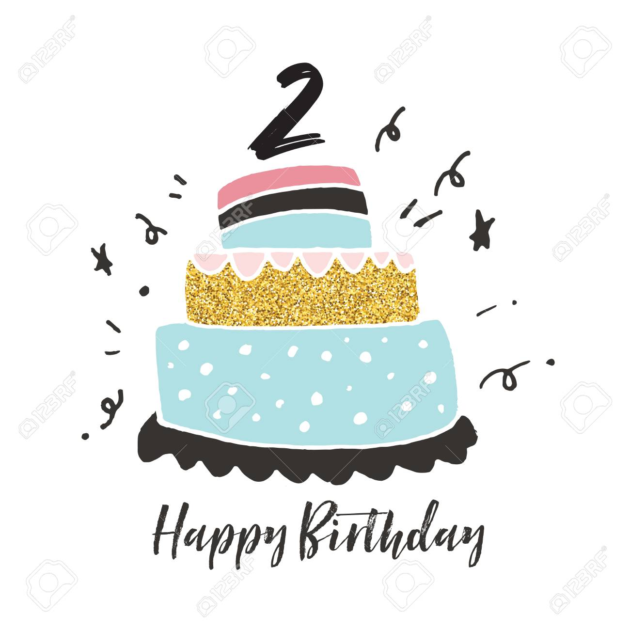 Peachy 2Nd Birthday Hand Drawn Cake Birthday Card Stock Photo Picture Funny Birthday Cards Online Inifodamsfinfo