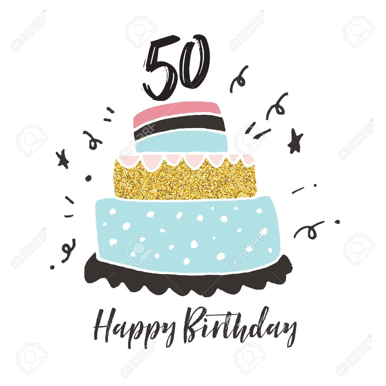 Stupendous 50Th Birthday Hand Drawn Cake Birthday Card Stock Photo Picture Funny Birthday Cards Online Fluifree Goldxyz