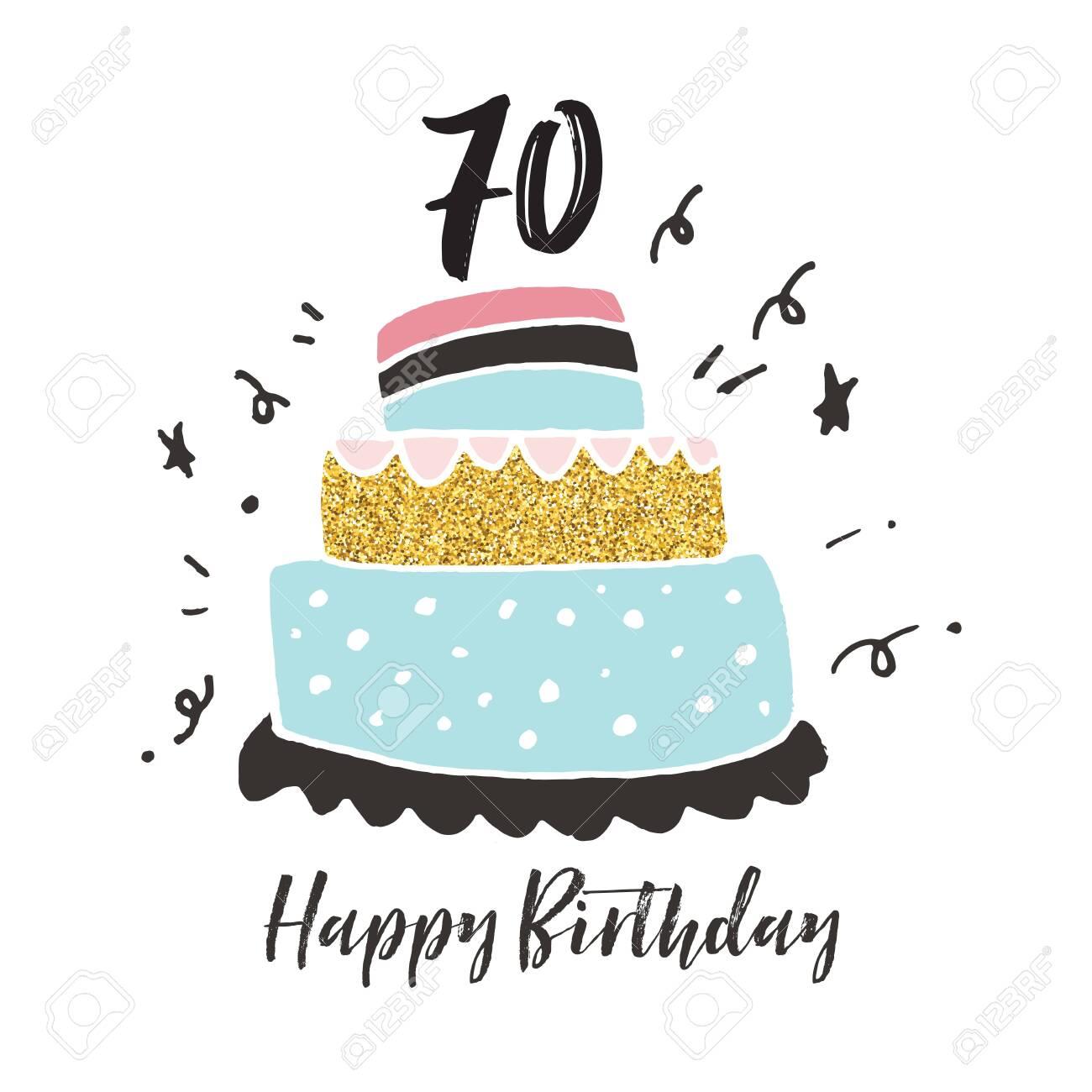 Amazing 70Th Birthday Hand Drawn Cake Birthday Card Stock Photo Picture Funny Birthday Cards Online Amentibdeldamsfinfo