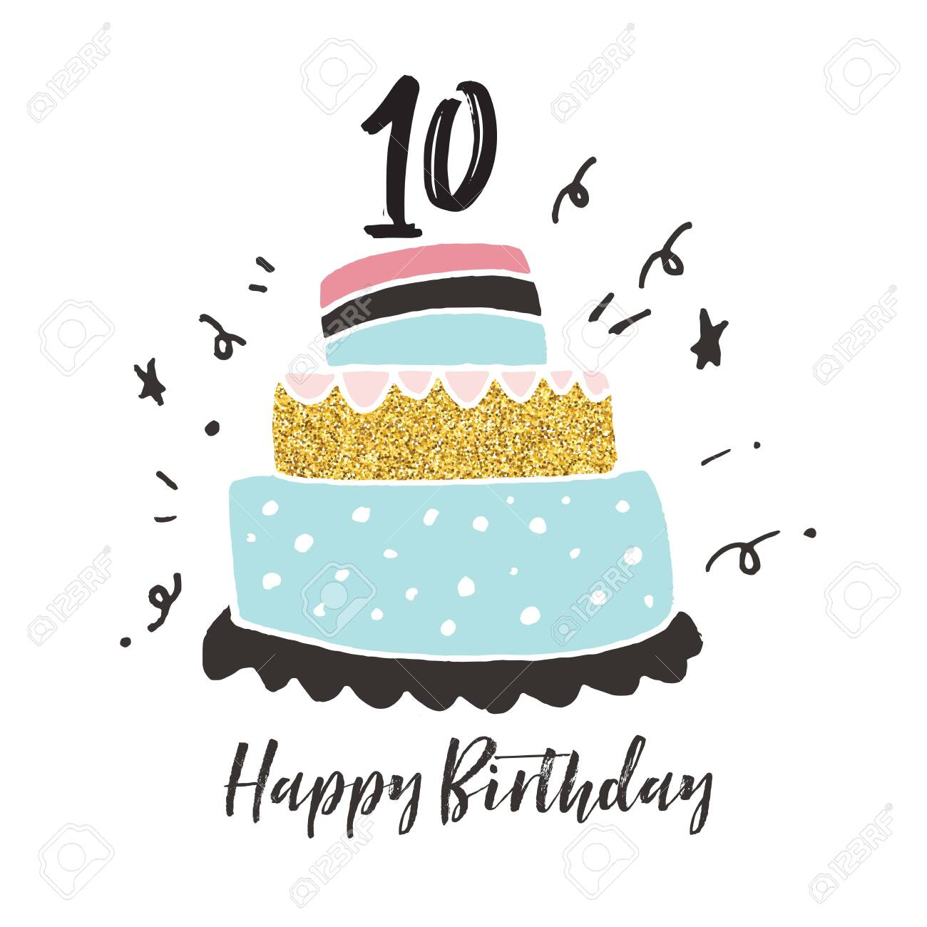 Astounding 10Th Birthday Hand Drawn Cake Birthday Card Stock Photo Picture Birthday Cards Printable Nowaargucafe Filternl