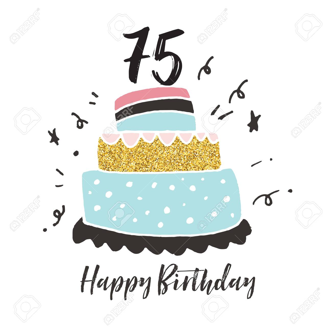 Fantastic 75Th Birthday Hand Drawn Cake Birthday Card Stock Photo Picture Funny Birthday Cards Online Bapapcheapnameinfo