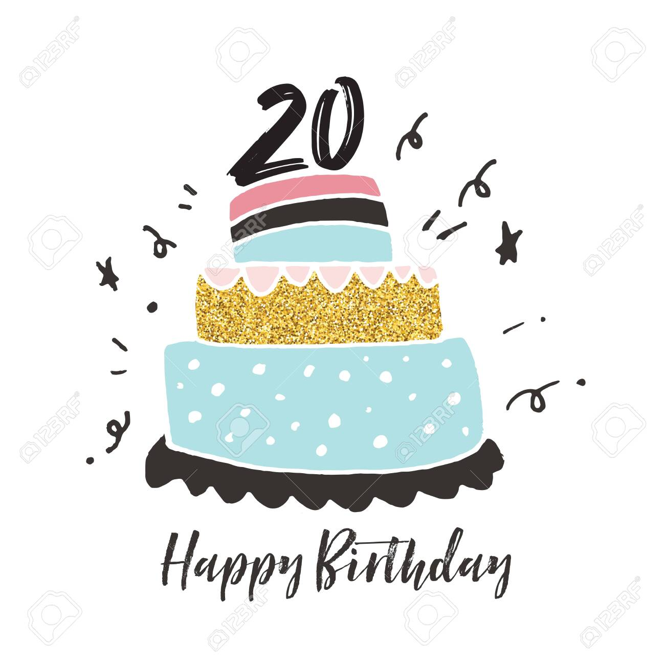 Prime 20Th Birthday Hand Drawn Cake Birthday Card Stock Photo Picture Funny Birthday Cards Online Inifodamsfinfo