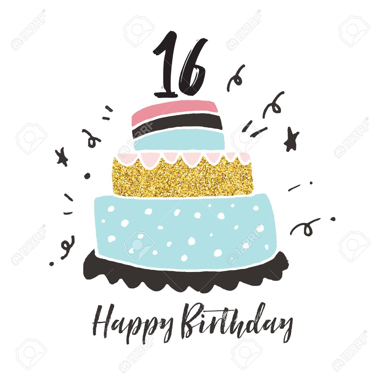Amazing 16Th Birthday Hand Drawn Cake Birthday Card Stock Photo Picture Personalised Birthday Cards Veneteletsinfo