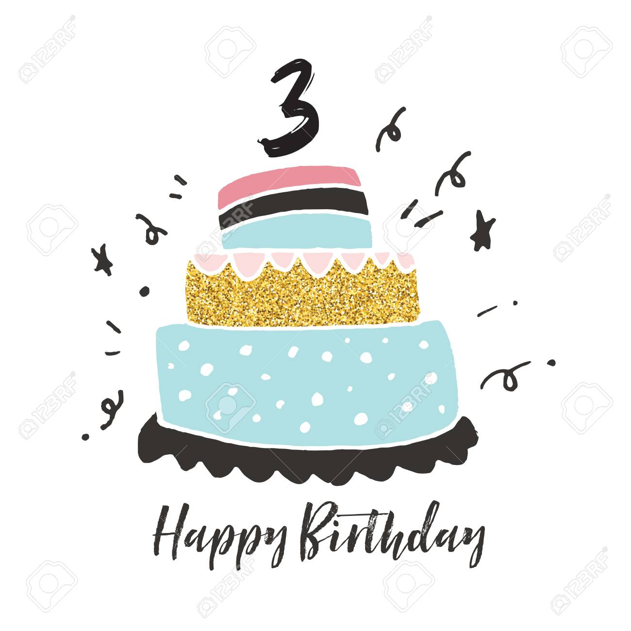 Astounding 3Rd Birthday Hand Drawn Cake Birthday Card Stock Photo Picture Funny Birthday Cards Online Overcheapnameinfo
