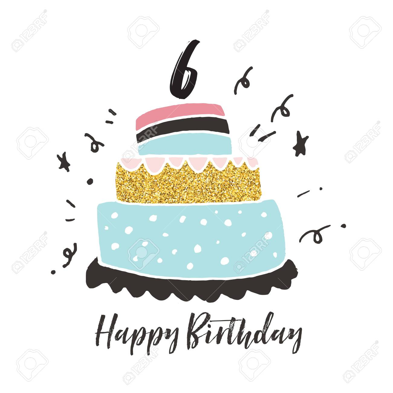 Enjoyable 6Th Birthday Hand Drawn Cake Birthday Card Stock Photo Picture Personalised Birthday Cards Veneteletsinfo