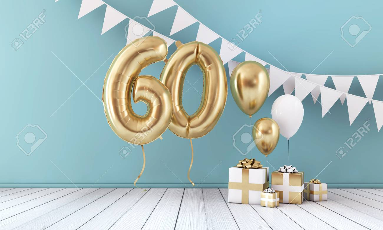 Happy 60th birthday party celebration balloon, bunting and gift box. 3D Render - 123237032