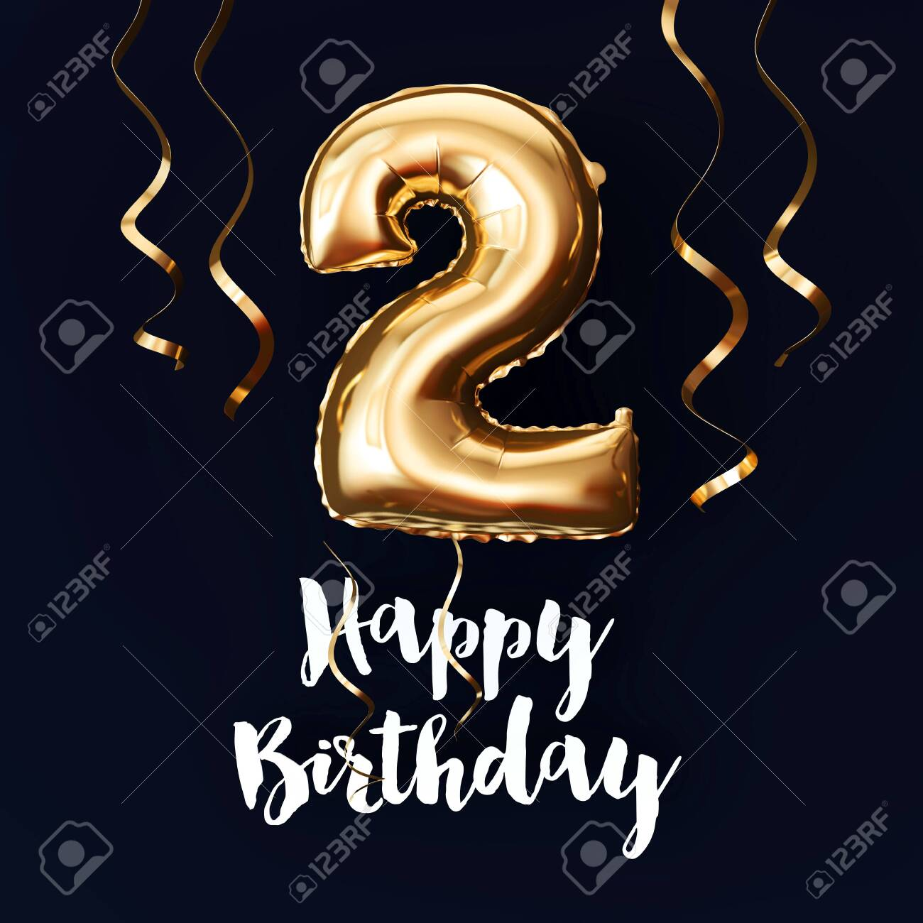 Happy 2nd Birthday gold foil balloon background with ribbons. 3D Render - 123940303