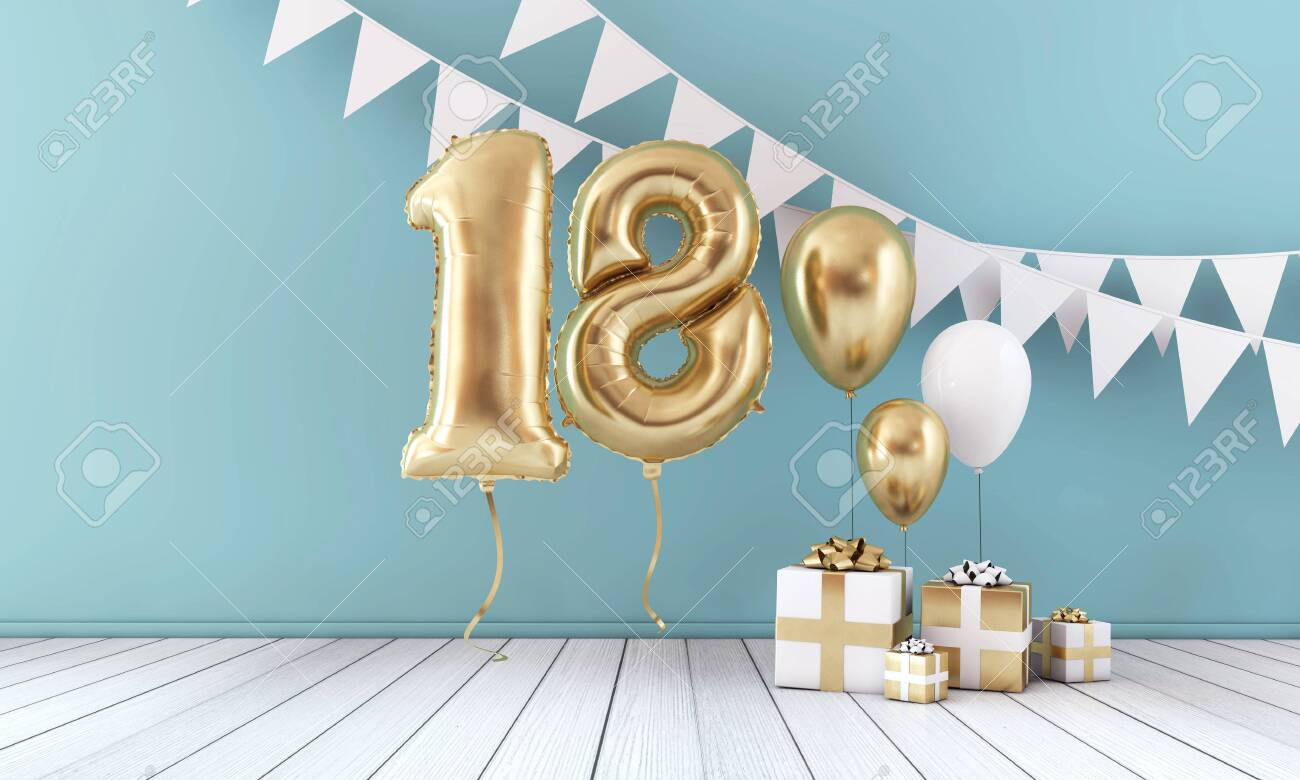 Happy 18th birthday party celebration balloon, bunting and gift box. 3D Render - 123939147