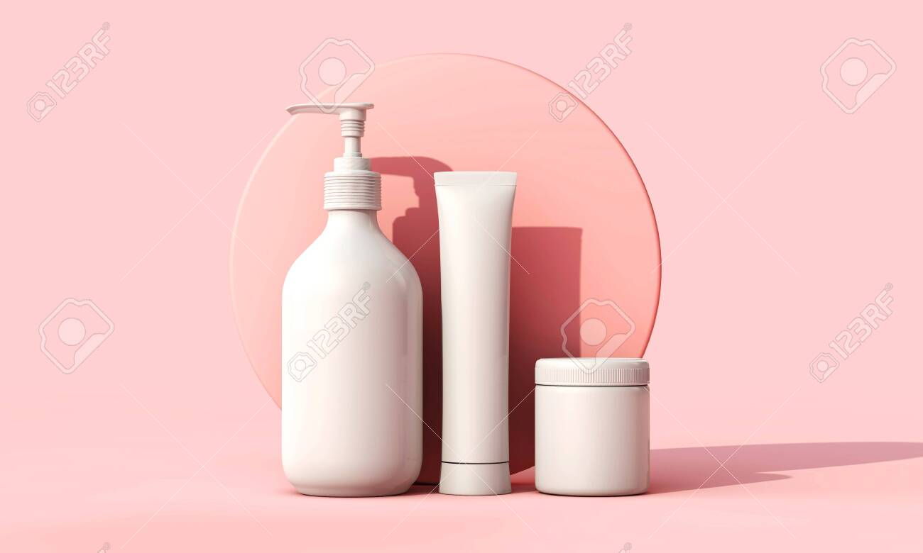 Blank white cosmetic skincare makeup containers. 3D Render - 123937700