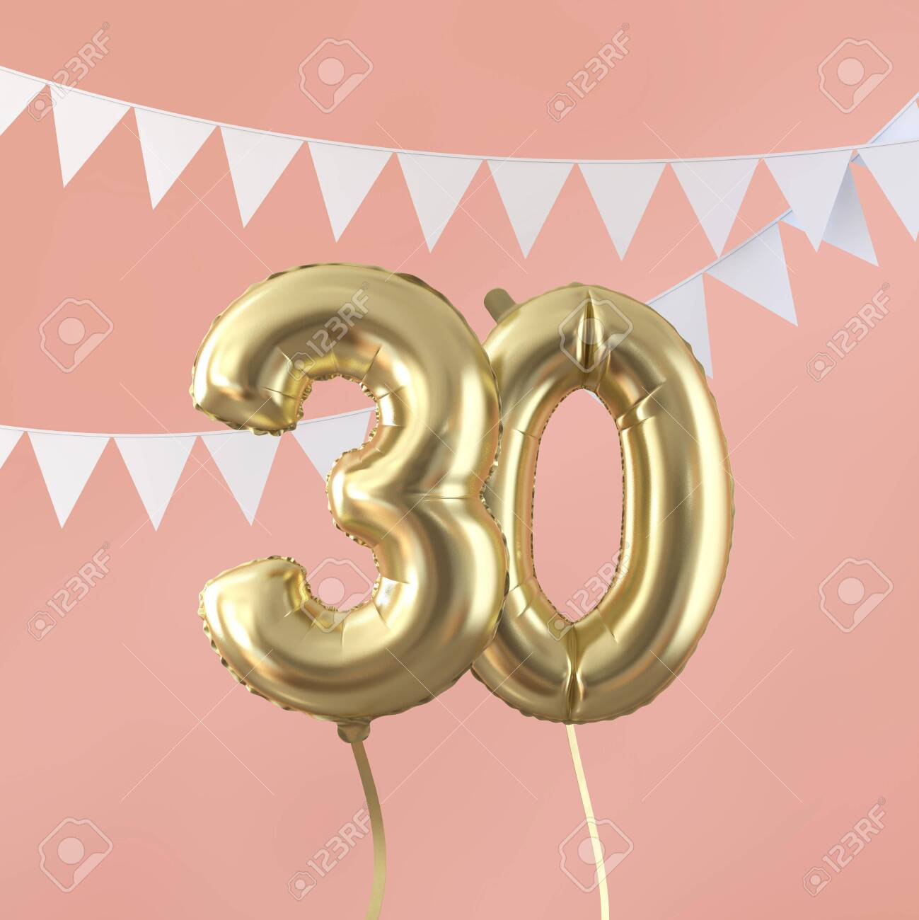 Happy 30th birthday party celebration gold balloon and bunting. 3D Render - 124403889