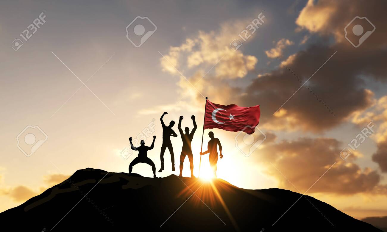 A group of people celebrate on a mountain top with Turkey flag. 3D Render - 144265736