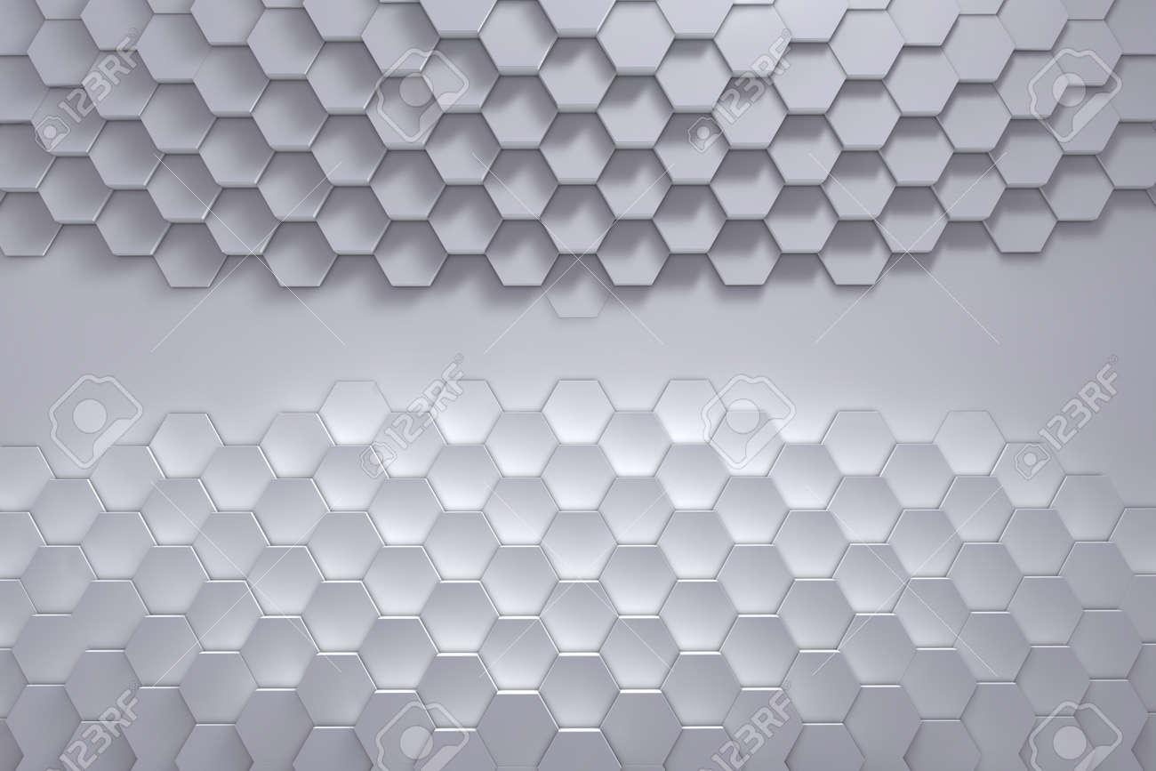 Geometric hexagon pattern background. 3D rendering - 145350013