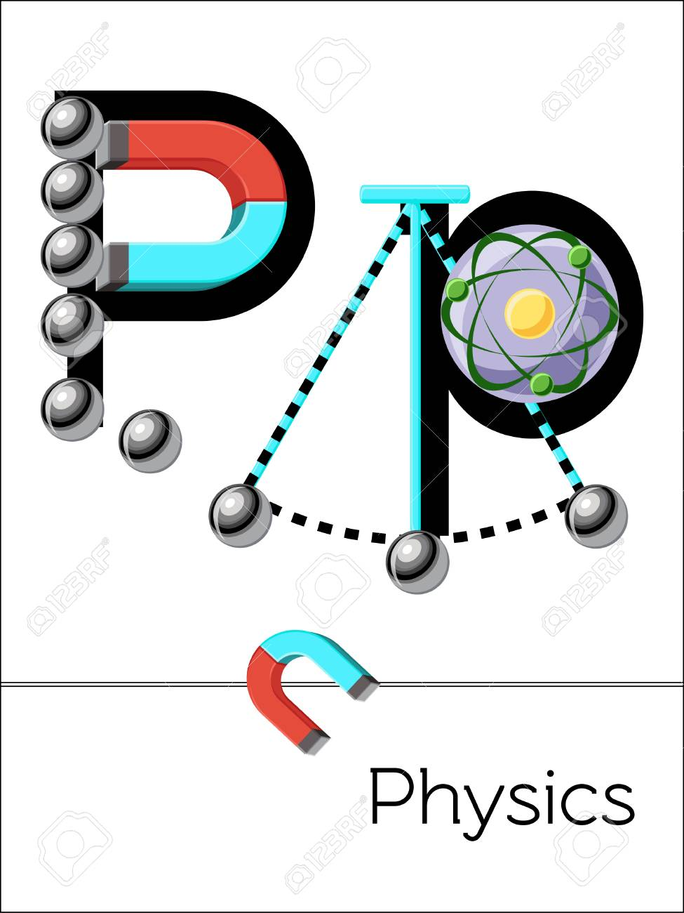 Flash Card Letter P Is For Physics Science Alphabet For Kids
