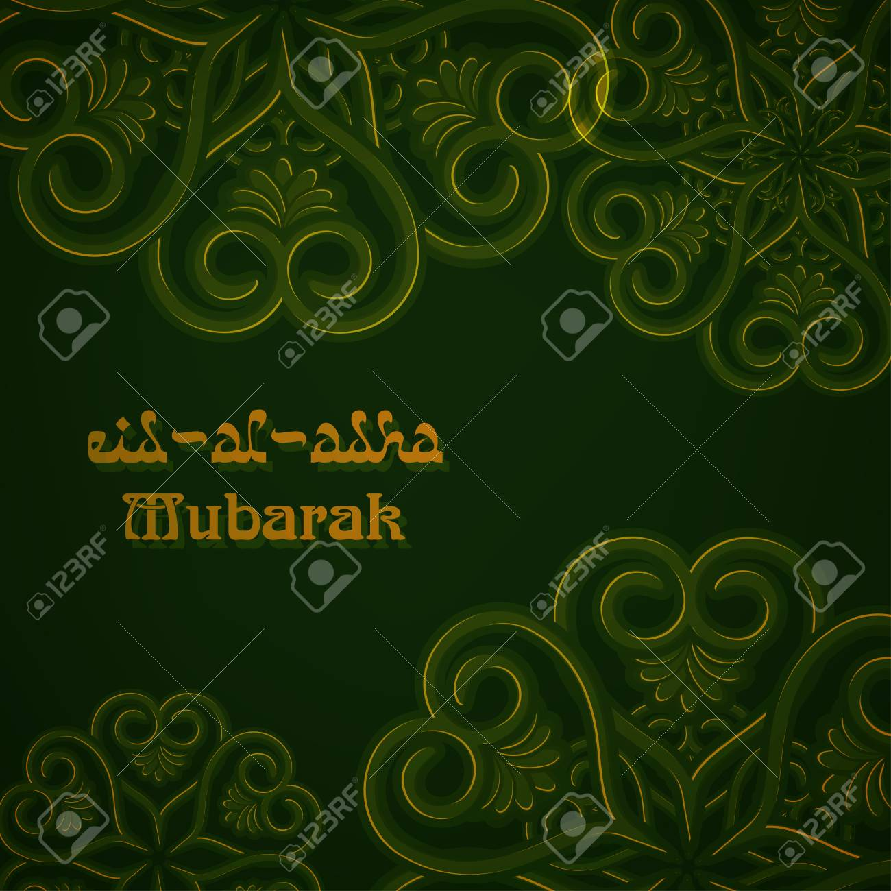 Eid Al Adha Mubarak Greeting Card Template With Traditional Arabic