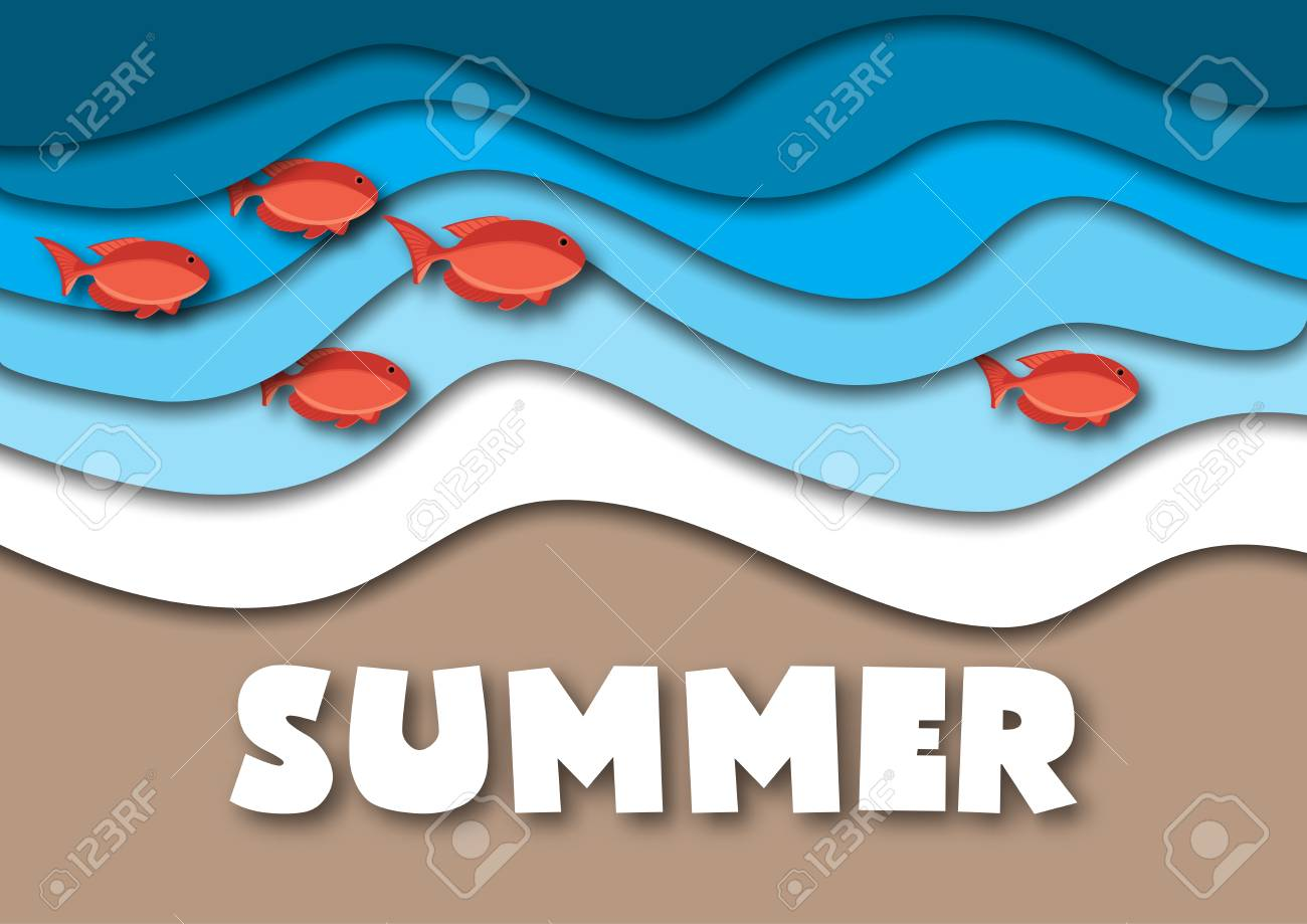 summer banner template in a4 format with sea or ocean waves