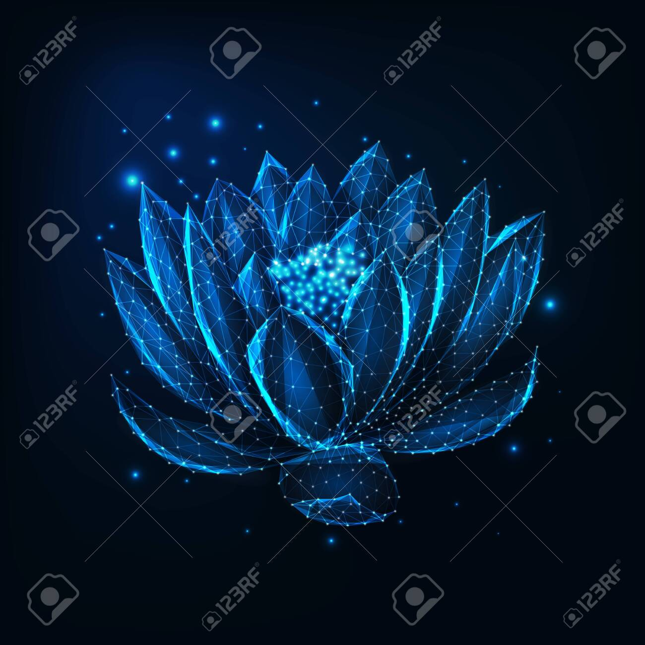 Beautiful Glowing Low Polygonal Floating Waterlily Lotus Flower