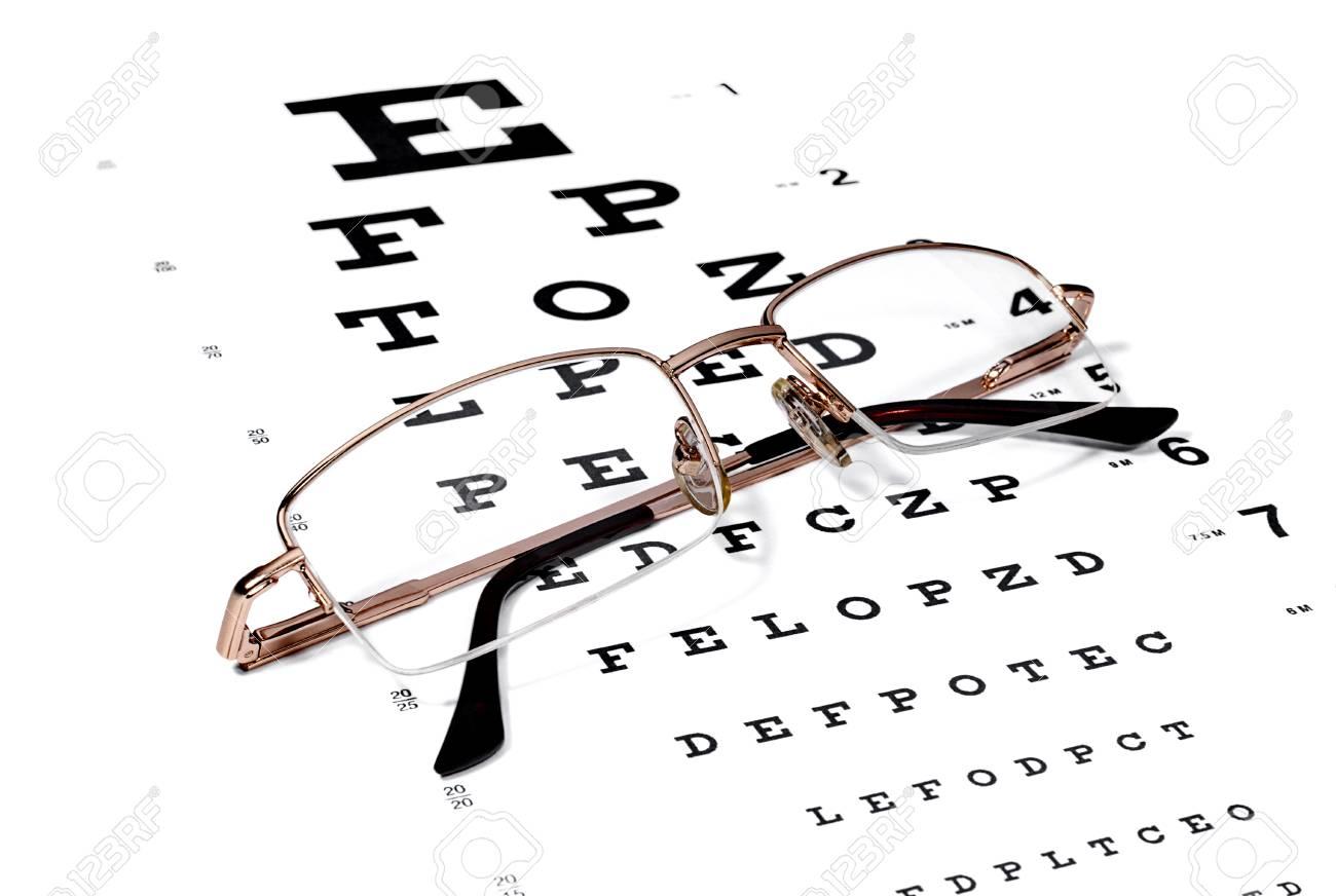 Gold rimmed eyeglasses on the snellen eye chart stock photo gold rimmed eyeglasses on the snellen eye chart stock photo 89619805 geenschuldenfo Choice Image