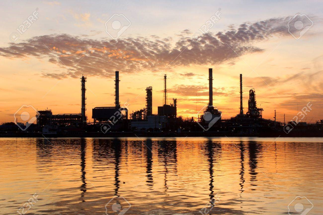 Sunrise, oil refinery factory with refection in Bangkok, Thailand - 15280465