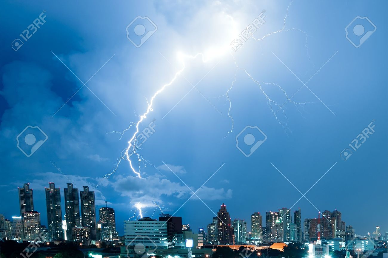 Real Lightning Bolt Strike In A City Stock Photo