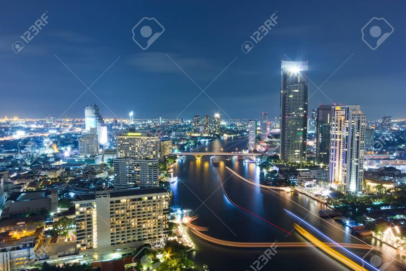 City town at night in Bangkok, Thailand Stock Photo - 16835469