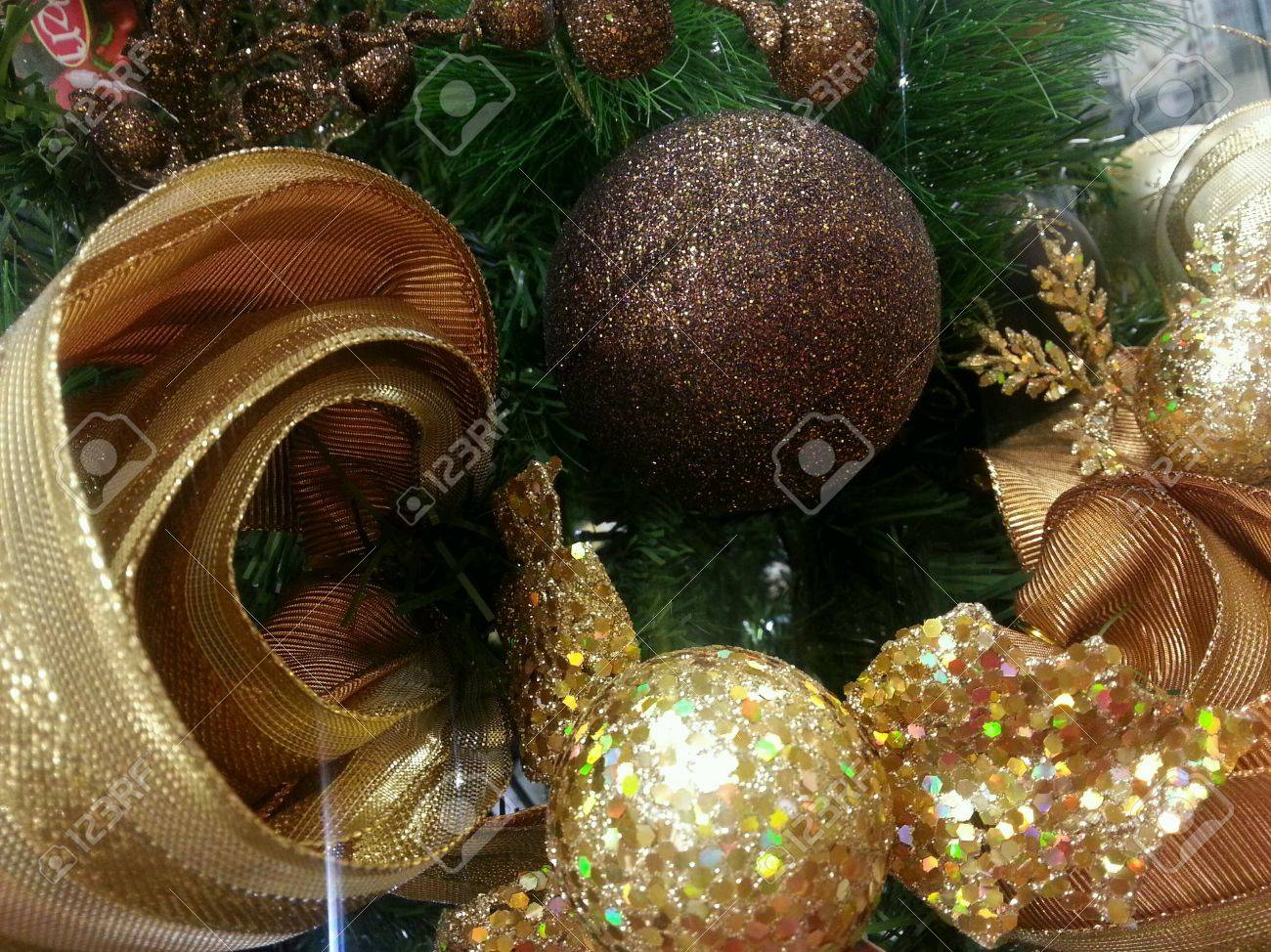 Gold And Brown Christmas Ornaments Decorations Stock Photo ...