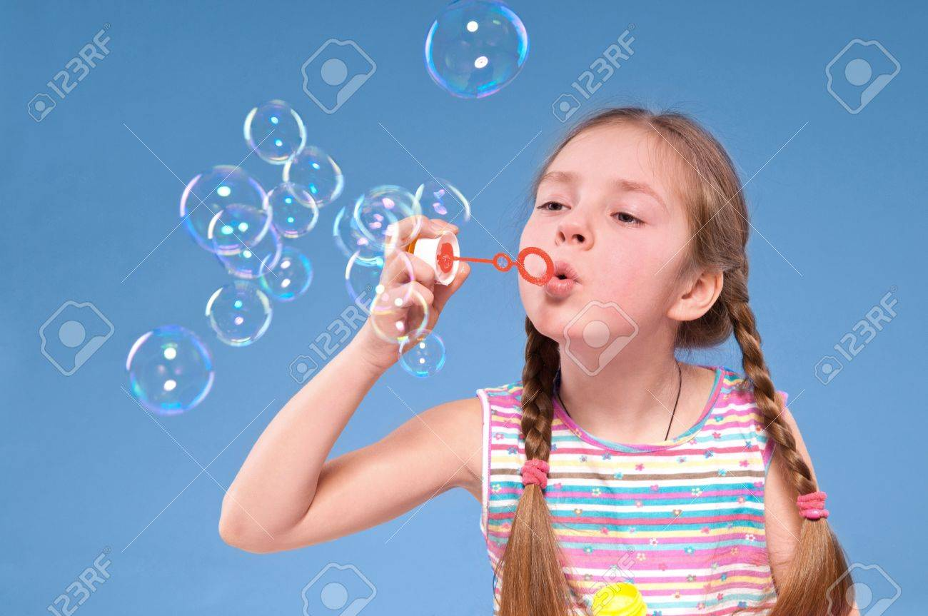 Blowing Soap Bubbles History Girl Blowing Soap Bubbles