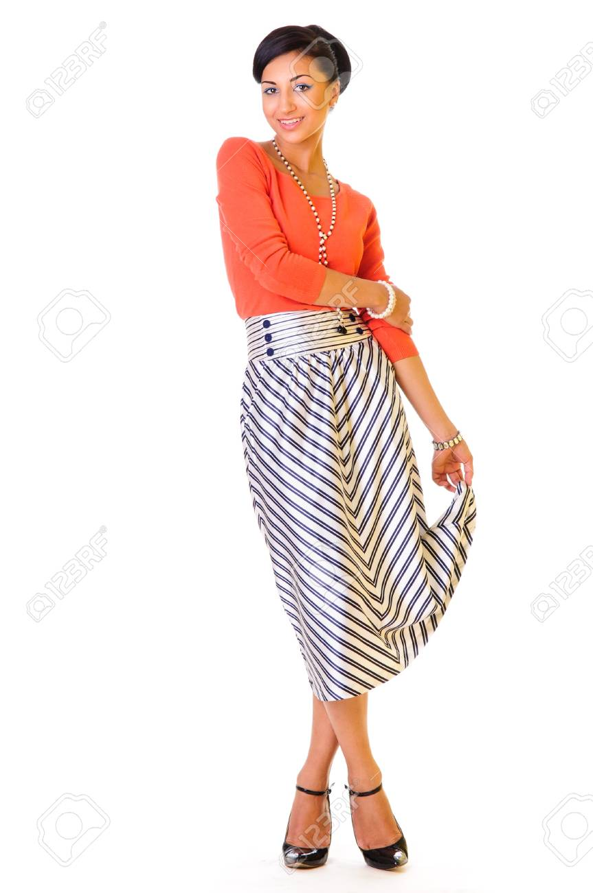 beauty young woman. style of the 60s. isolated on a white background. full-length Stock Photo - 14250084