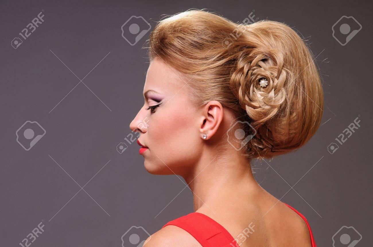Beauty Portrait Mode Coiffure Cheveux Sains Banque D'Images Et ...