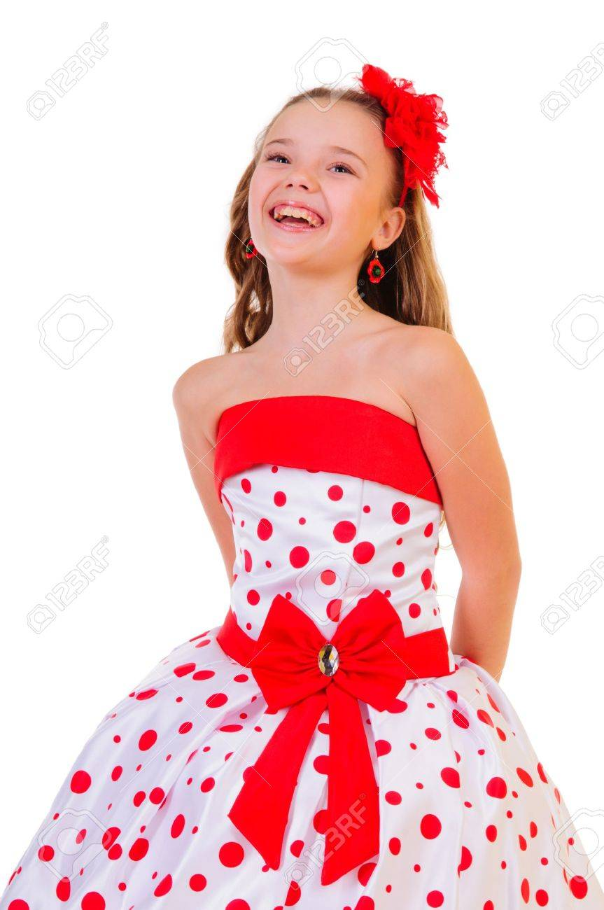 Pretty Polka Dot Dress Girl in a Polka Dot Dress