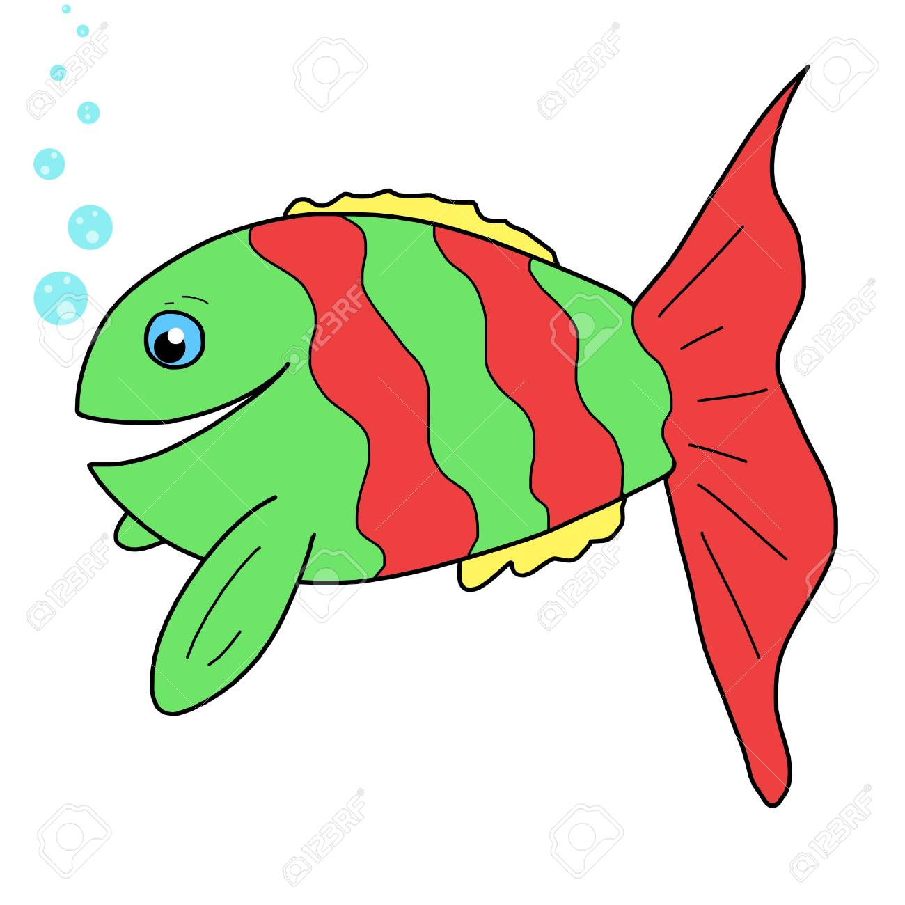 Hand-drawn Cute Fish, Cartoon Stock Photo, Picture And Royalty Free ...