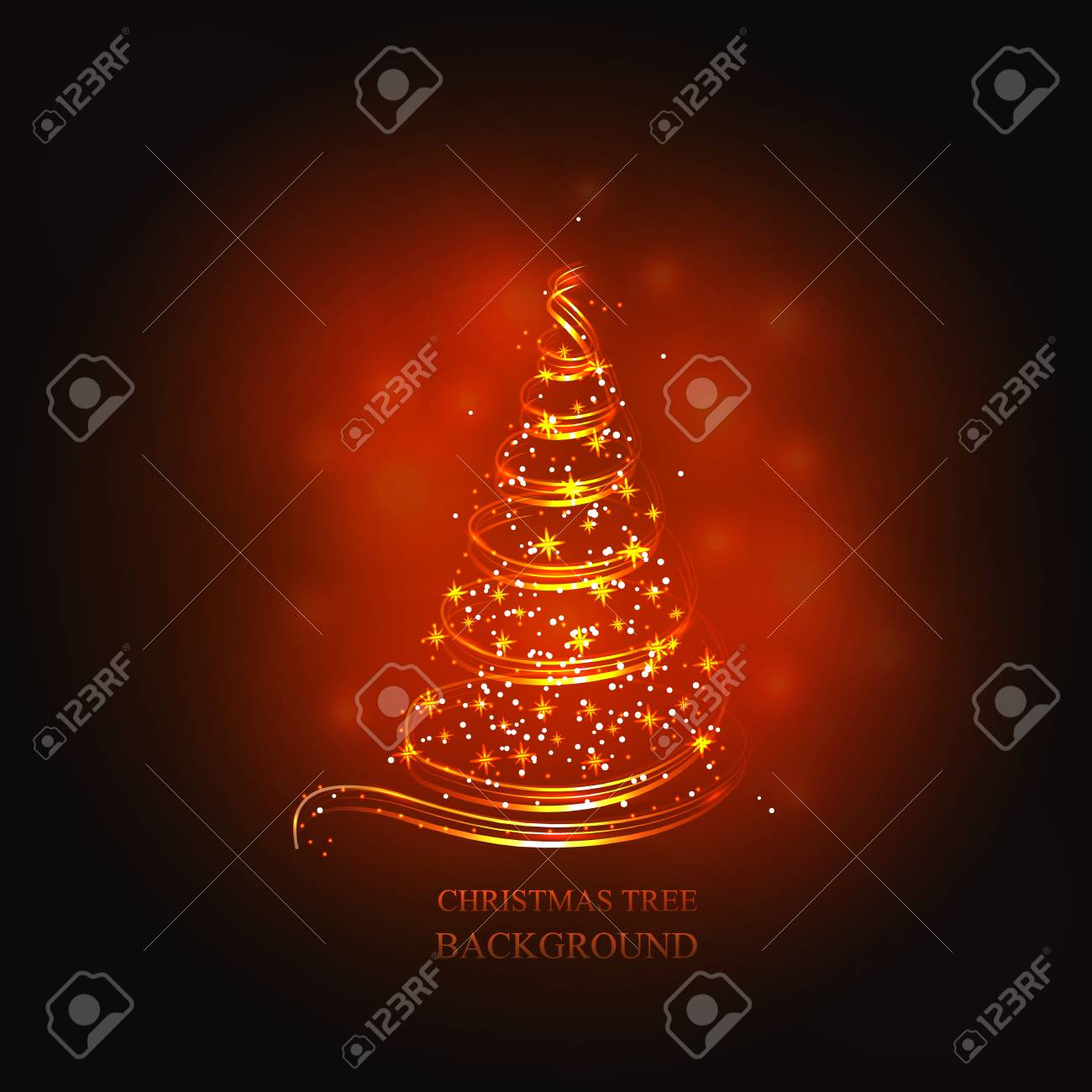Abstract Background With Gold Christmas Tree And Stars Illustration
