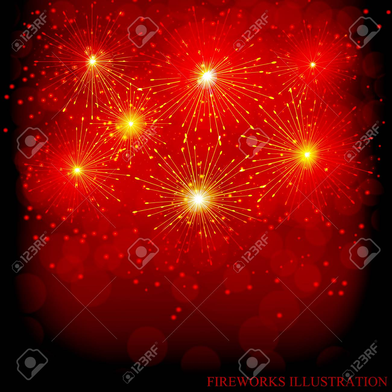 Brightly Colorful Fireworks Red Illustration Of Fireworks Holiday