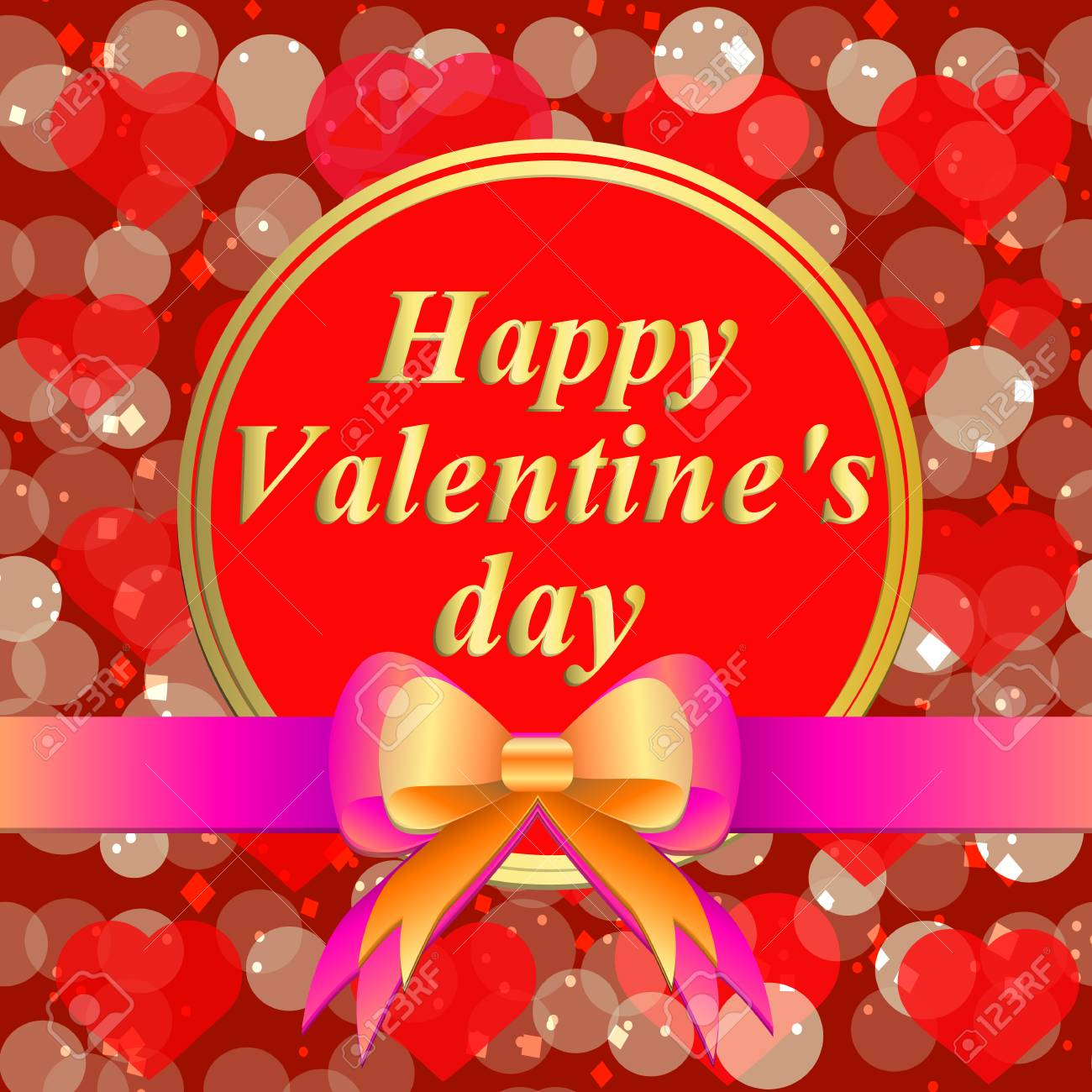 Happy Valentines Day Greeting Card Brightly Colorful Illustration