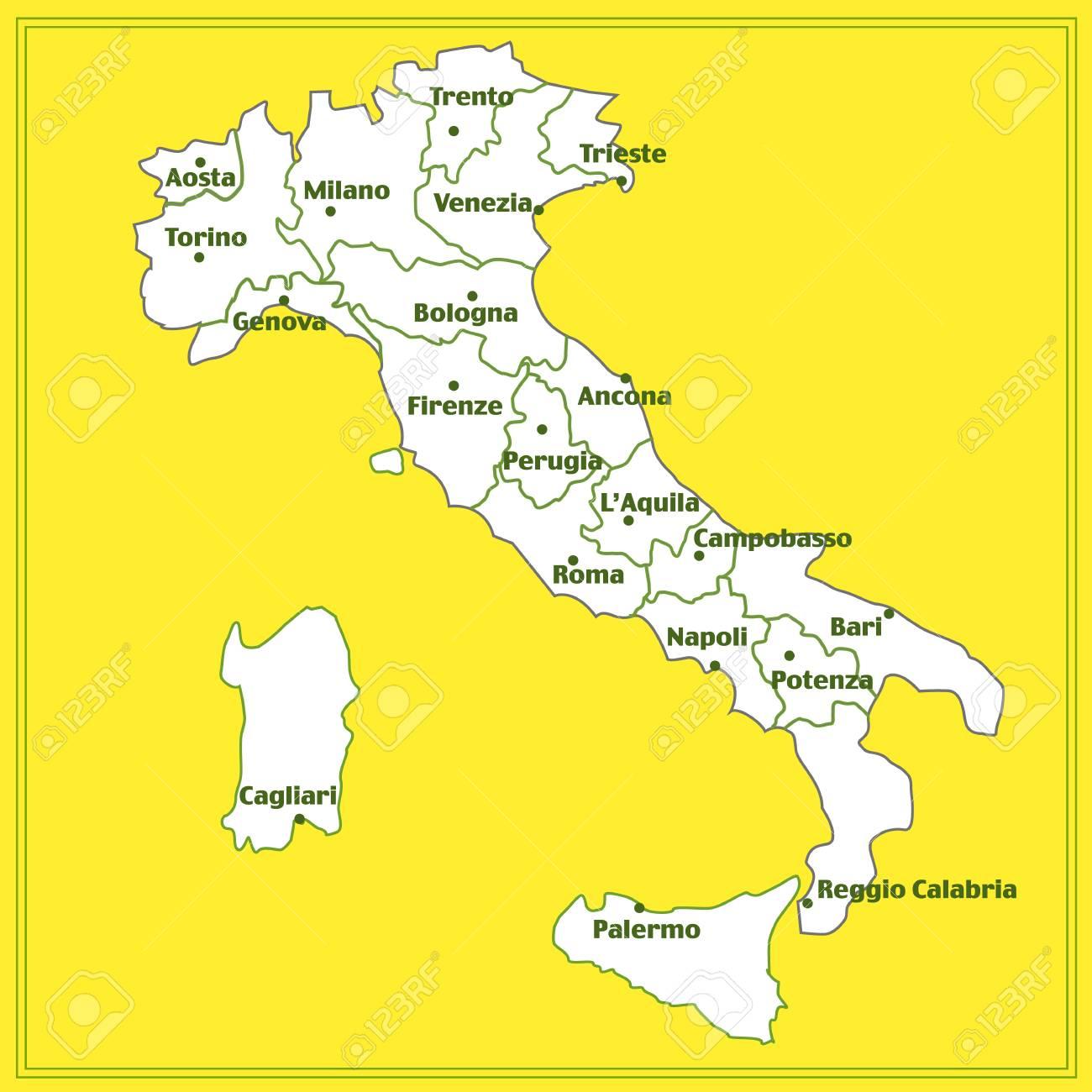 Karte Italien Regionen.Stock Photo
