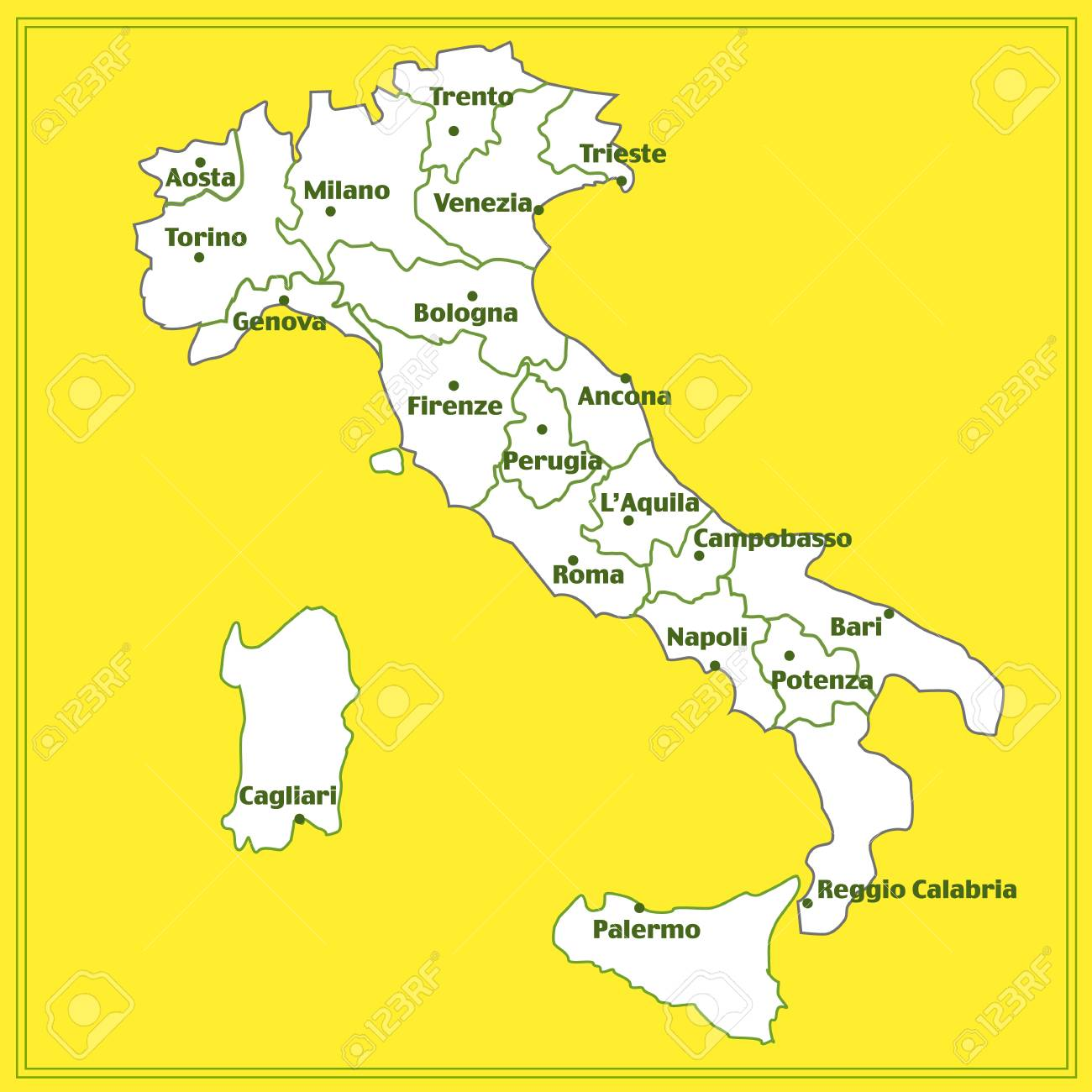 Map Of Cities Italy.Stock Illustration