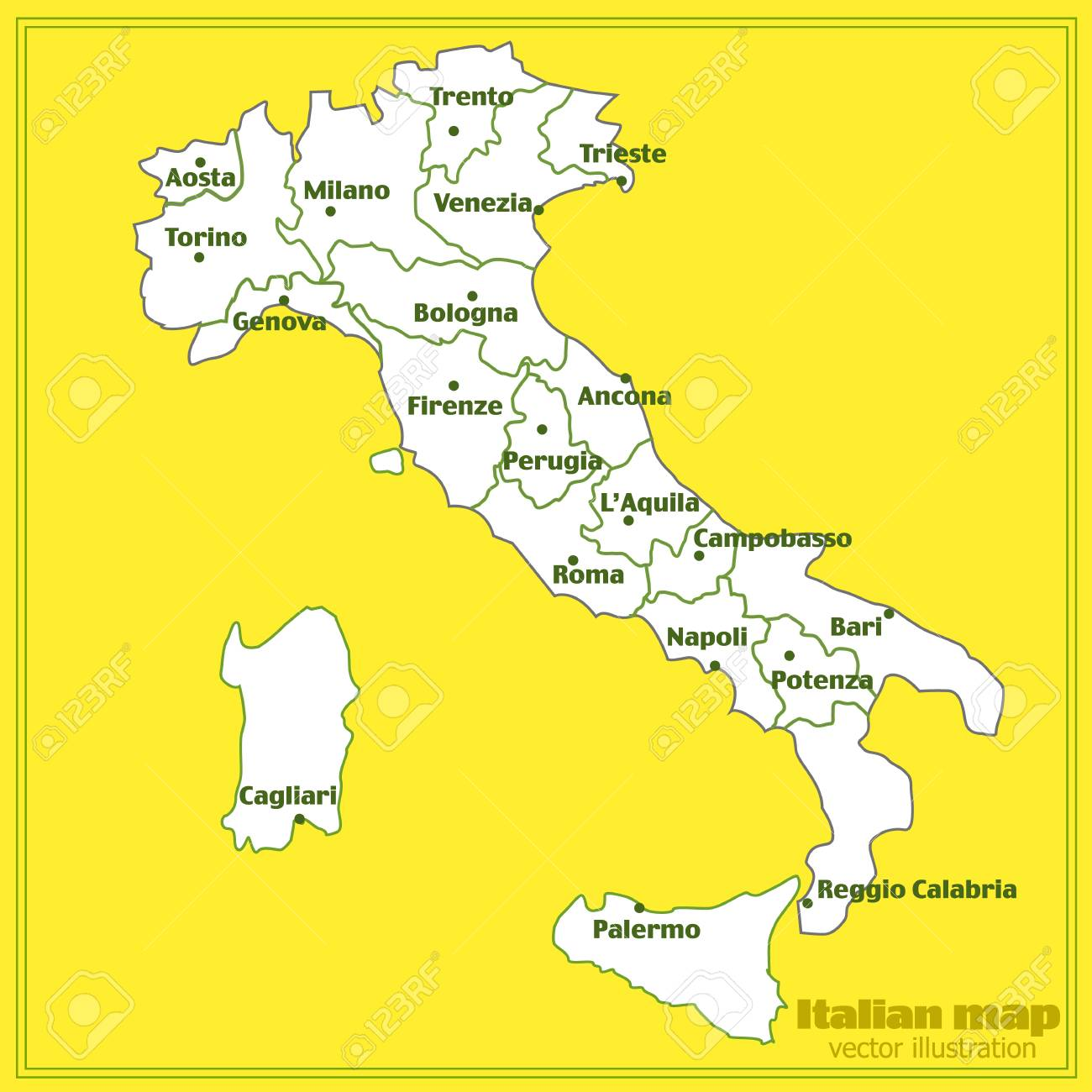 Map Of Italy Cities And Regions.Map Of Italy With Red Background Italy Map With Italian Big