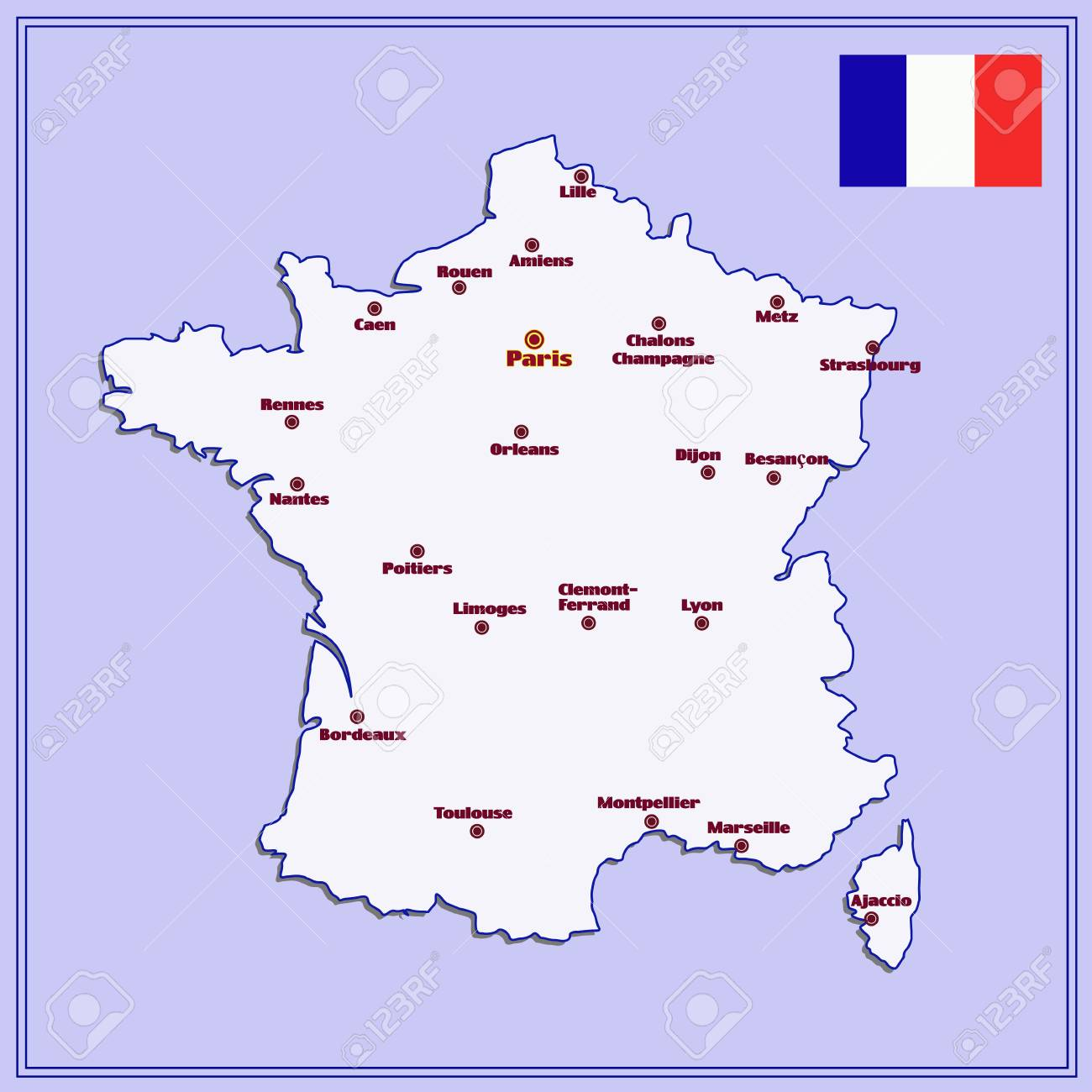Cities Of France Map.Map Of France With Big Cities Stock Photo Picture And Royalty Free