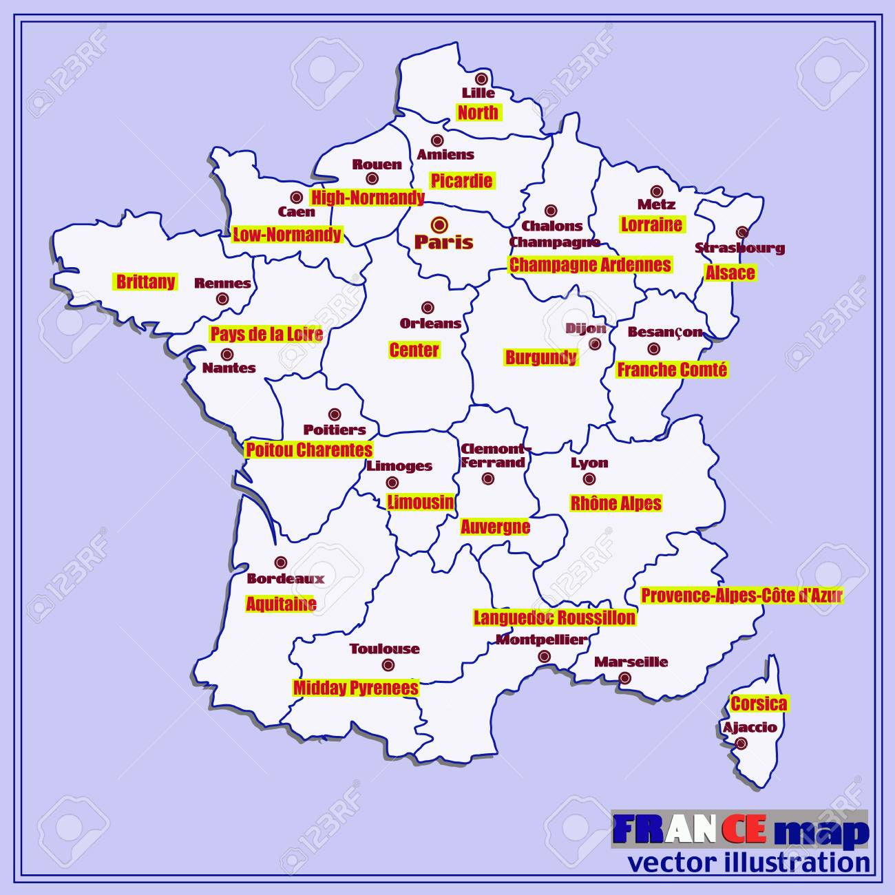 Map Of France In French.Map Of France With French Regions Vector