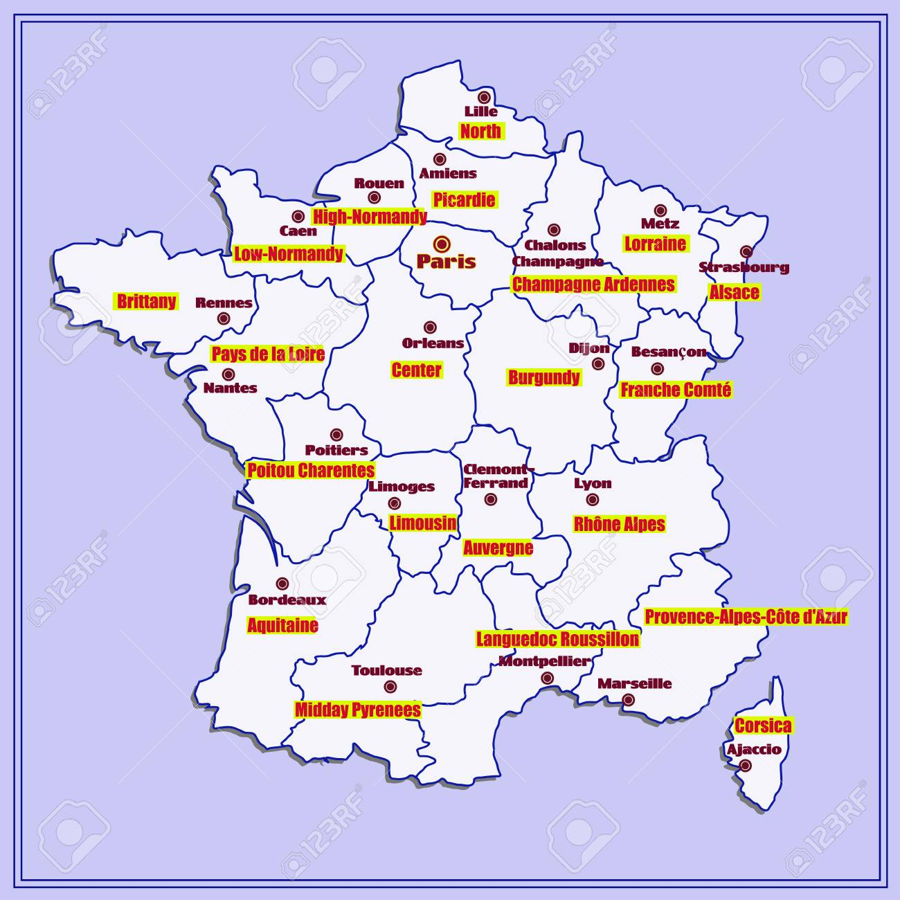Map Of France In French.Map Of France With French Regions