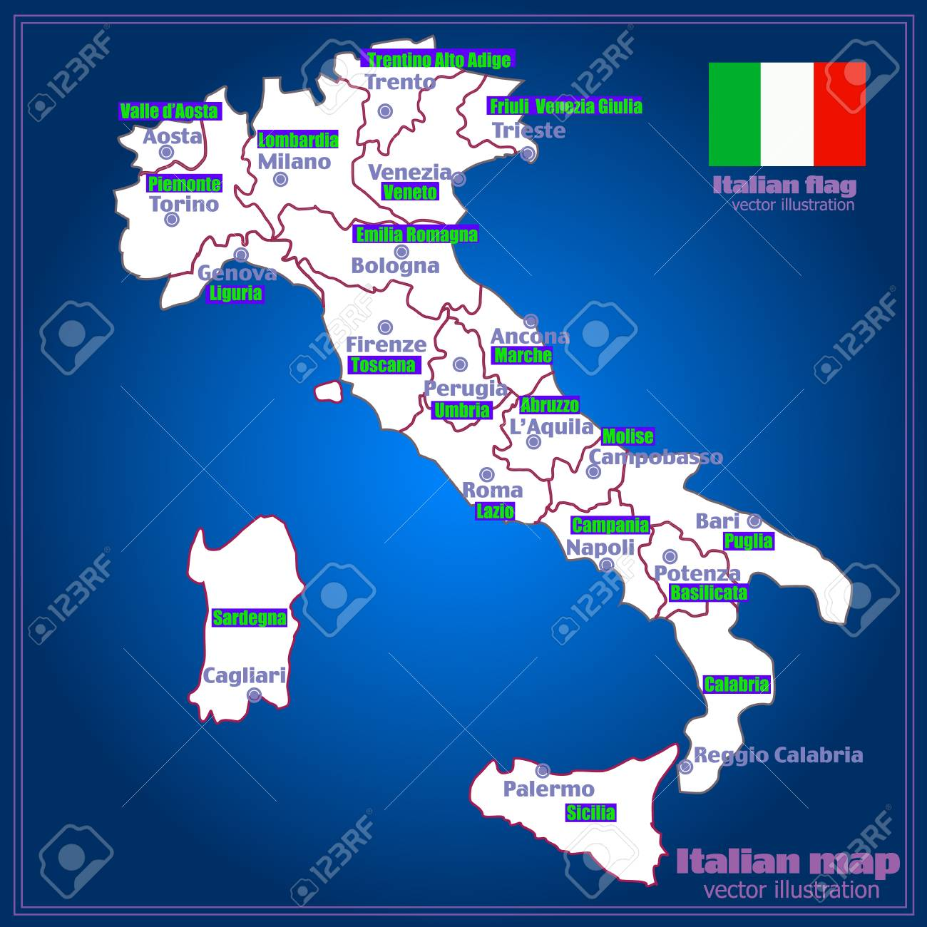 Marche Region Italy Map.Italy Map With Italian Regions Royalty Free Cliparts Vectors And