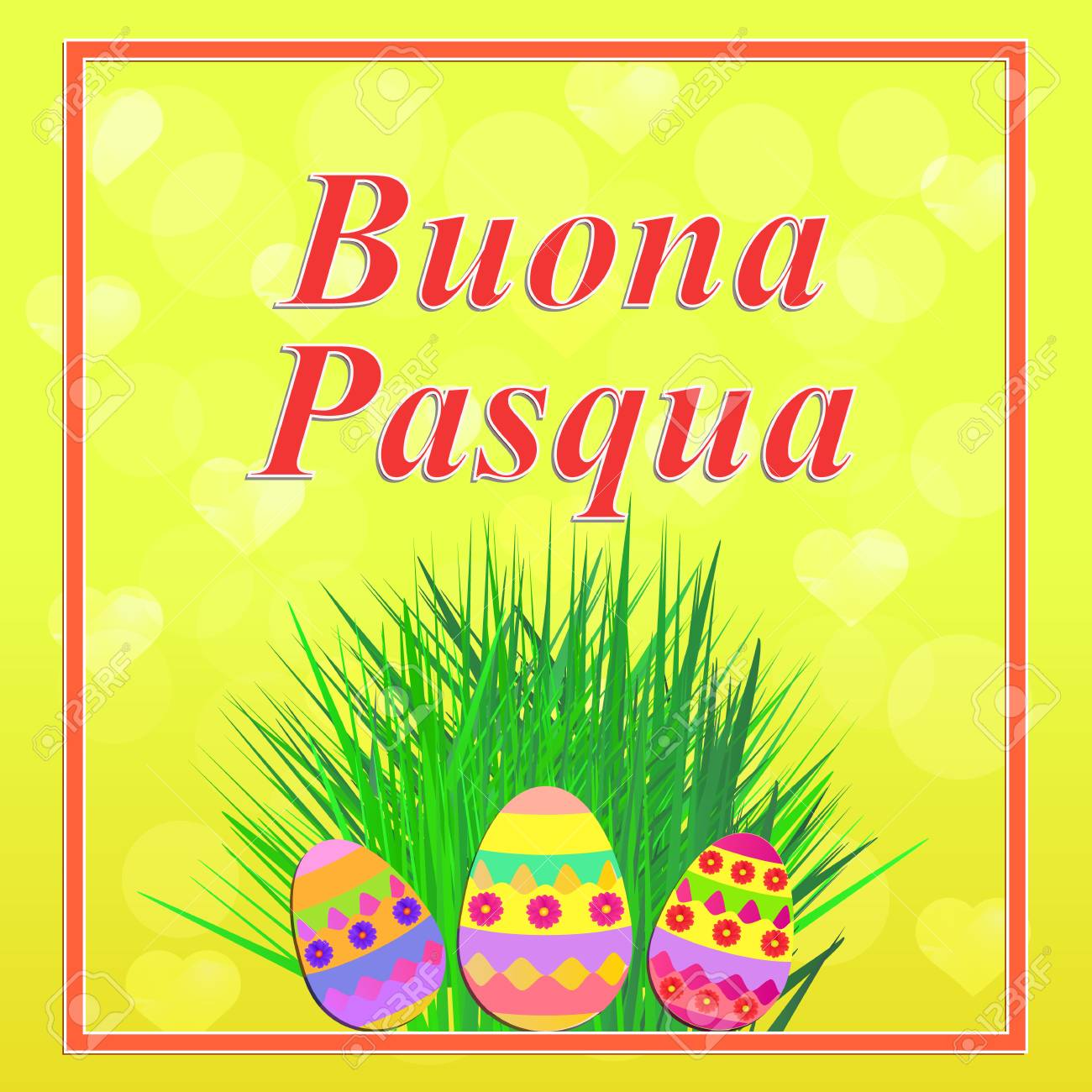 Bright Background Buona Pasqua In Italian Language Colorful Stock