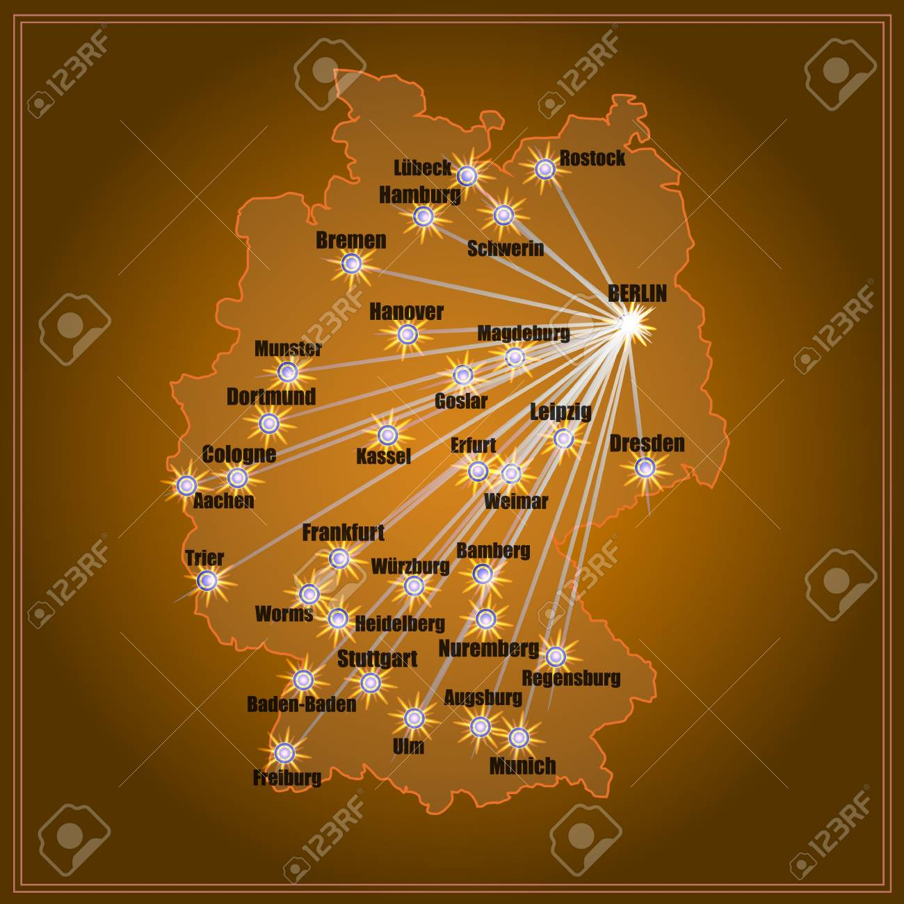 Germany Map Of Cities.Bright Map Of Germany With Cities Illustration In Gold Colors