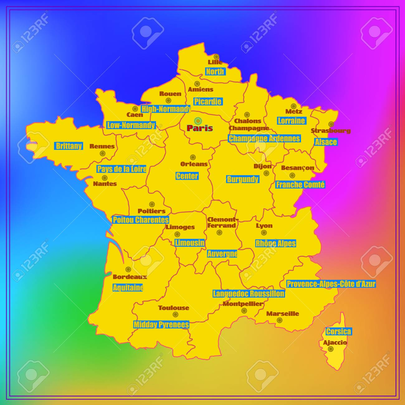 Map Of Major Cities In France.Stock Illustration