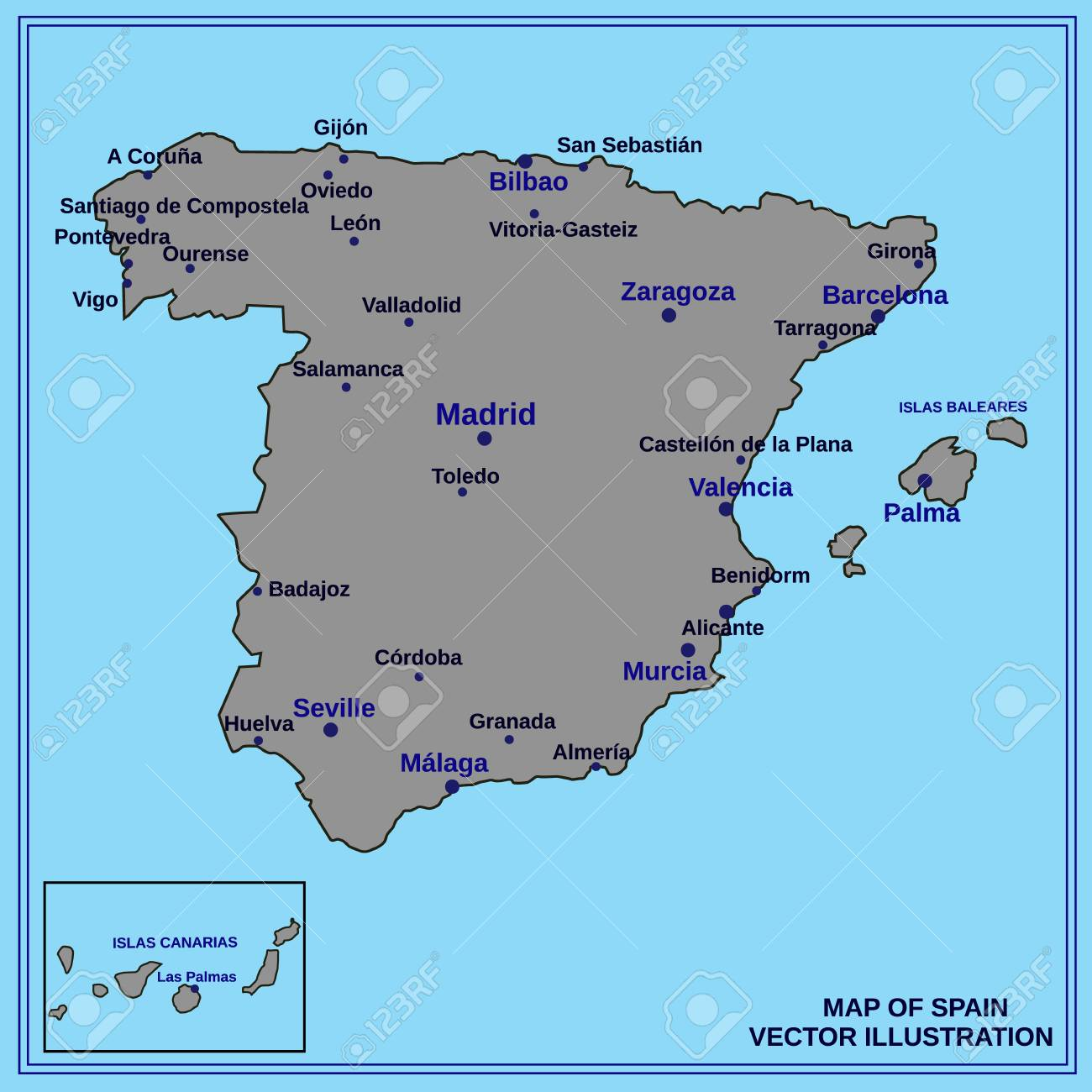 Spanish Map Of Spain.Map Of Spain Bright Illustration With Map Illustration With