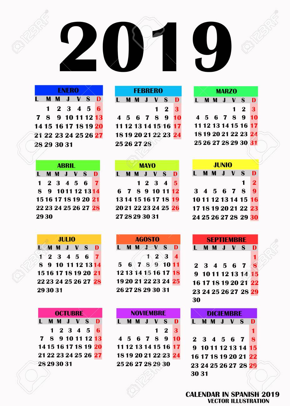 Calendario Julio 2019 Vector.Simple Design For Calendar 2019 Vector