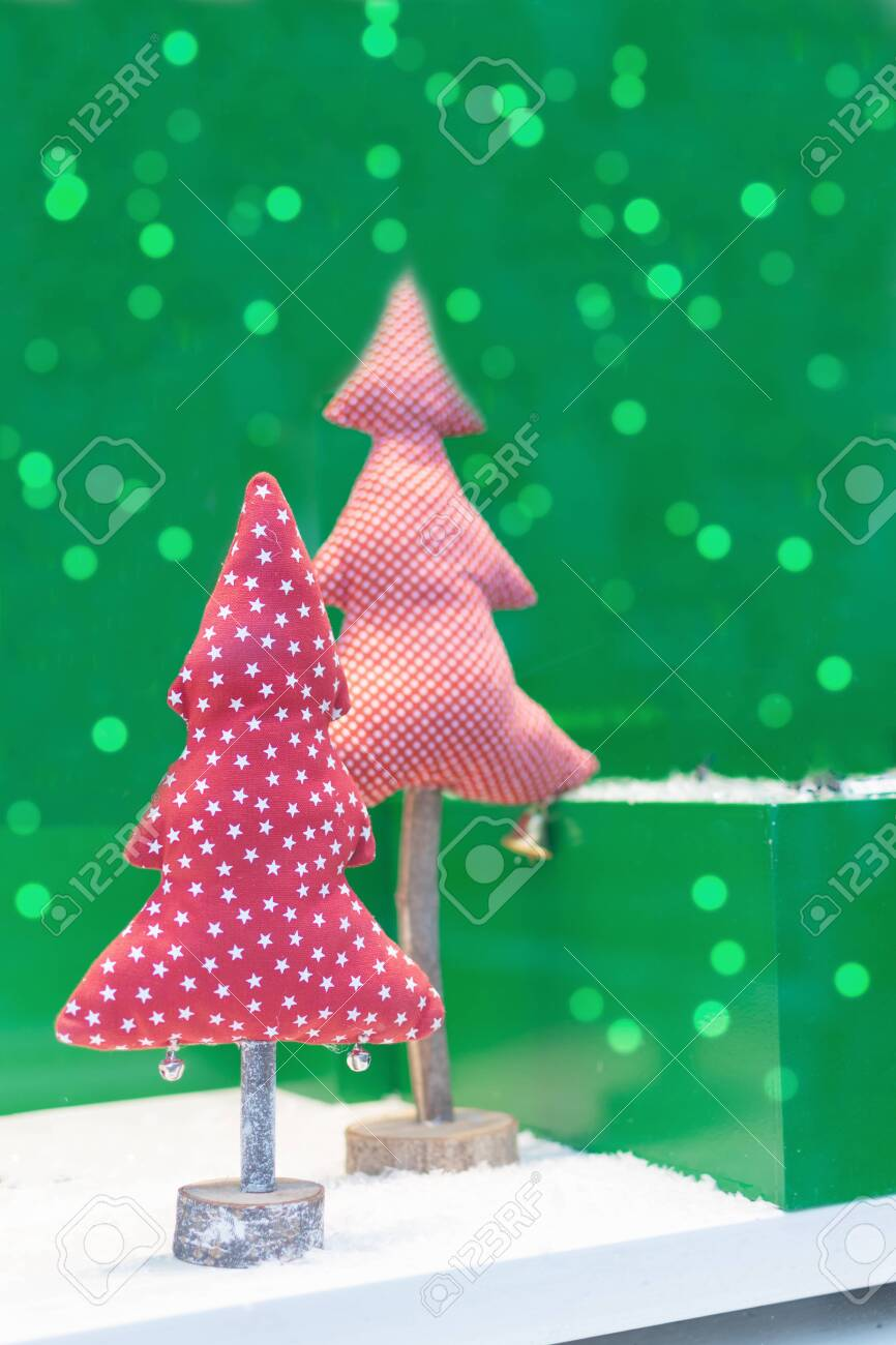 Fabric Christmas Tree On Green Background With Beautiful Bokeh Stock Photo Picture And Royalty Free Image Image 152861325