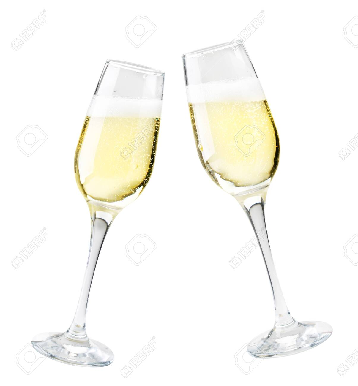 Two glasses of champagne on a white background. Isolated - 133840303