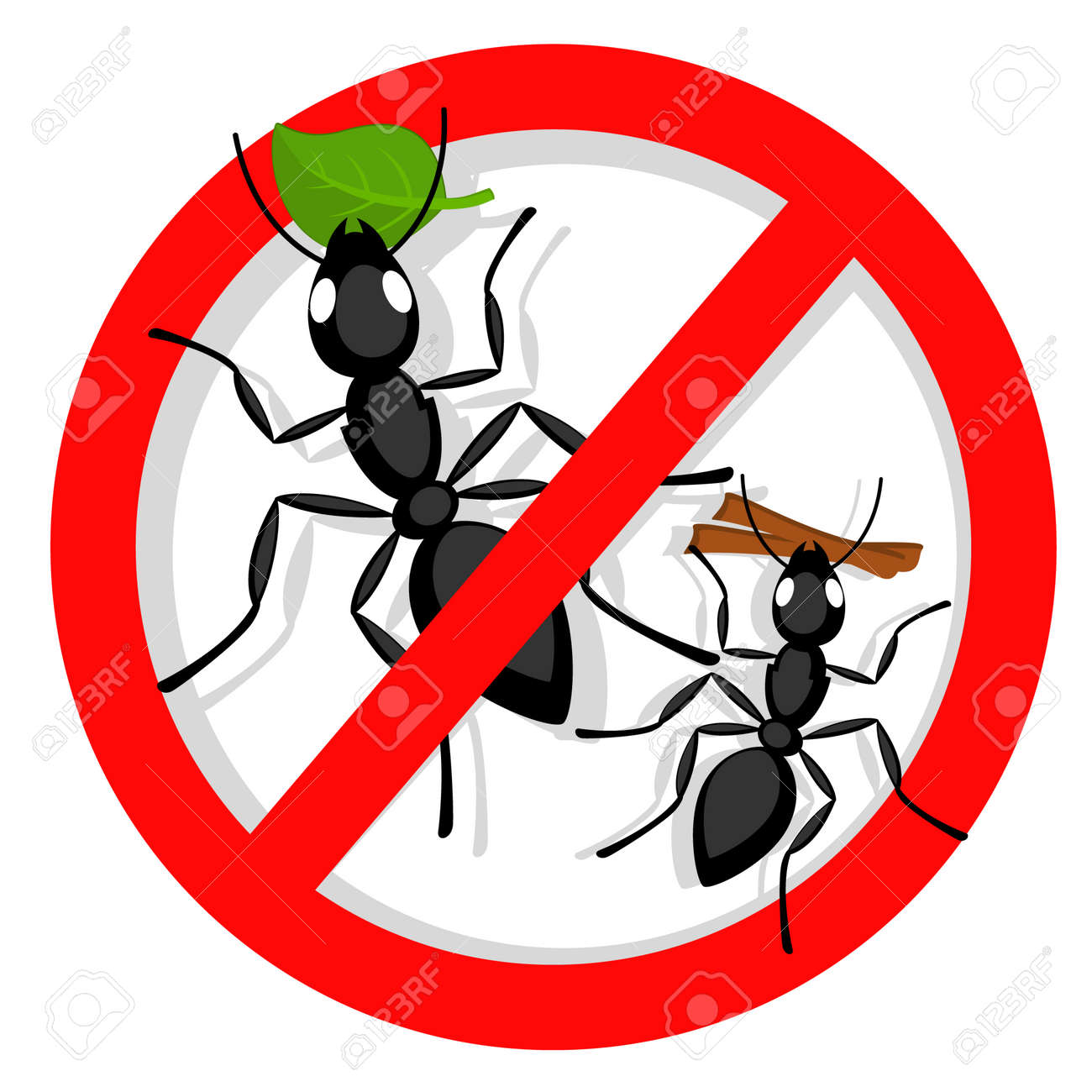 Ants banned on a white background. Red sign - 165306539