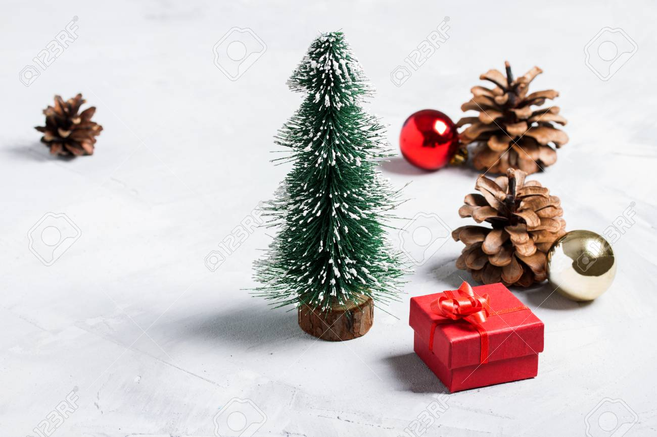 Little Christmas Tree With Red Bow Red Gift Box Red And Gold